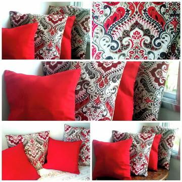 Kit de 6 capas de almofada vermelha Arabesco