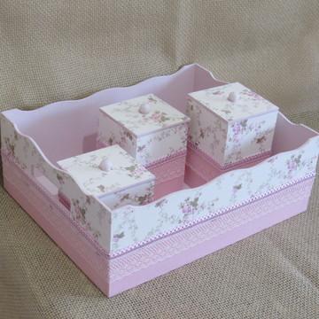 bandeja e potes de mdf tecido floral