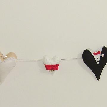 Varal Cordão de Coração para Casamento em feltro