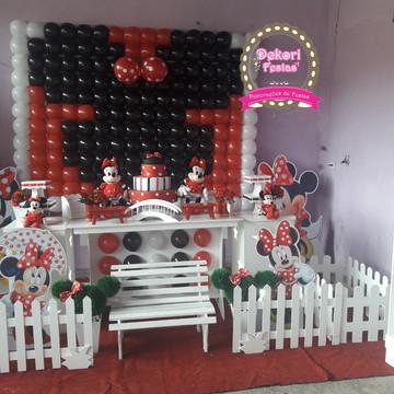 Decoração de Festa infantil tema Minnie Vermelha da Disney