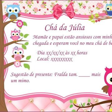 Convite Virtual para Chá de Bebê Corujinha