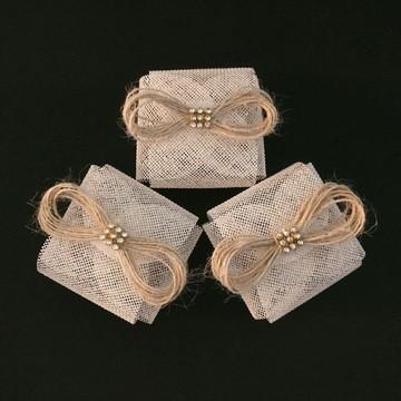 Embalagem de bem-casado: Pérola com Laço de Juta Rústico