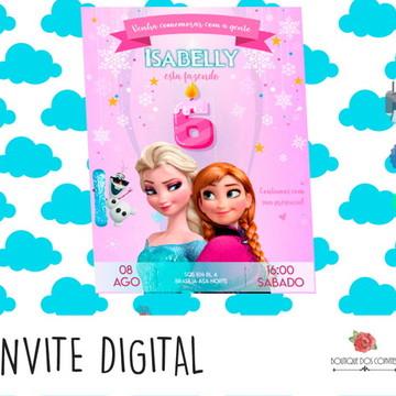 Convite Digital Aniversário Frozen Pink