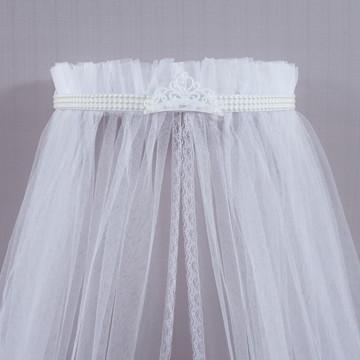 Dossel com mosquiteiro Todo branco Coroa Imperial Menina 2p