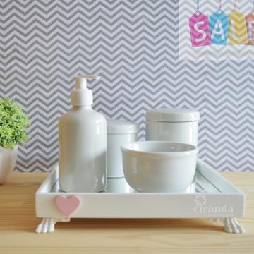 Kit Higiene Bandeja Porcelana Bebe Nuvem Coração + Barato