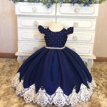 Vestido de Festa Azul Marinho-Infantil