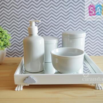 Kit Higiene Bandeja Porcelana Bebe Nuvem Meninos + Barato