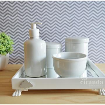 Kit Higiene Bandeja Porcelana Bebe Nuvem + Barato