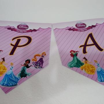 Faixa Parabens Princesas mais nome personalizada