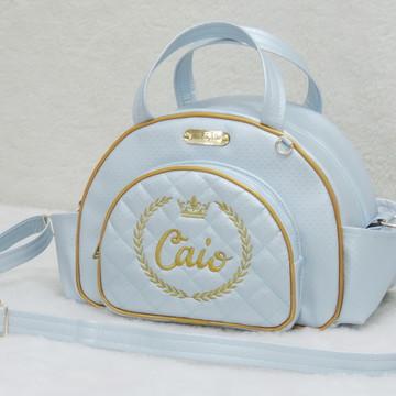 Bolsa de bebê Azul bebê e Dourado