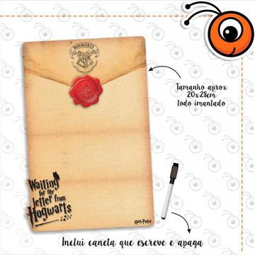 Lousa Magnetica Carta Hogwarts + Caneta Magnética