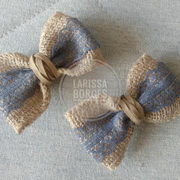 Kit lacinhos de manta alfazema em bico de pato.