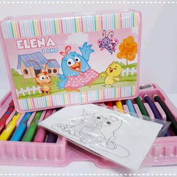 Estojo de colorir Galinha Pintadinha candy
