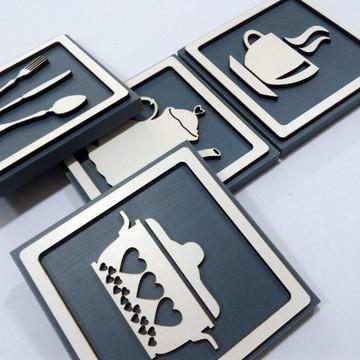 Quadros Decorativos Cozinha Café Kit Com 4 - 20x20 Cm