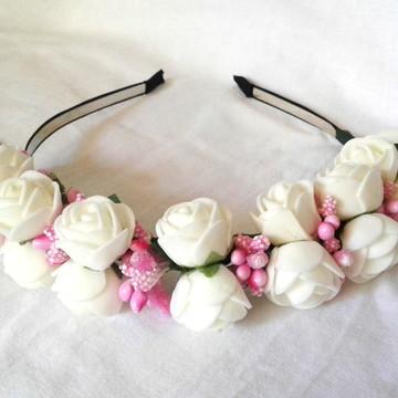 Tiara Flores Brancas Acessório de Cabelo Penteados Floral