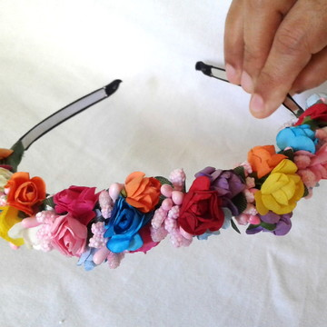 Tiara Flores Coloridas Acessório de Cabelo Penteados Floral