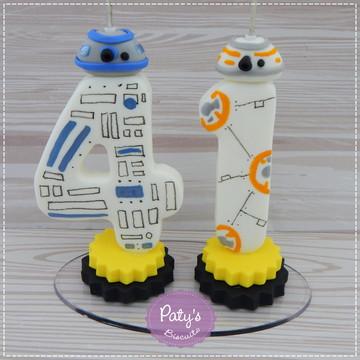 Vela decorada dupla Star Wars - R2-D2 e BB-8