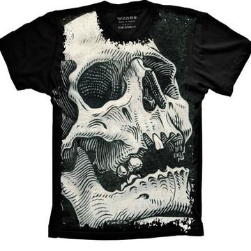 86866c524c Camiseta Skull Caveira Vintage Masculino Feminino Infantil