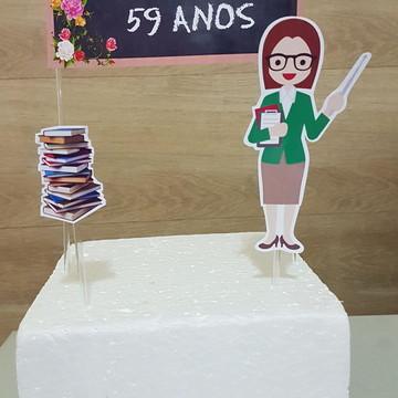 Topo de bolo parabéns professora