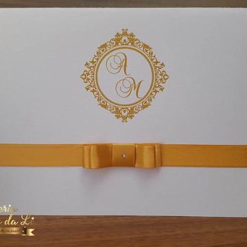 Convite Casamento Branco com Dourado