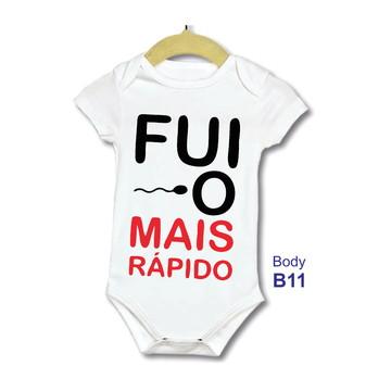 4ea1888c5e Body bebe Infantil Frase Engraçada eu fui o mais rápido