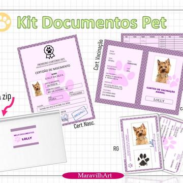 Kit documentos PET certidão, caderneta vacinaão, RG