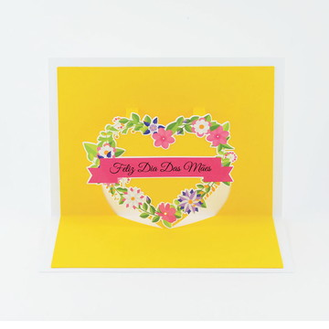 Cartão Pop up Dia das Mães 3d