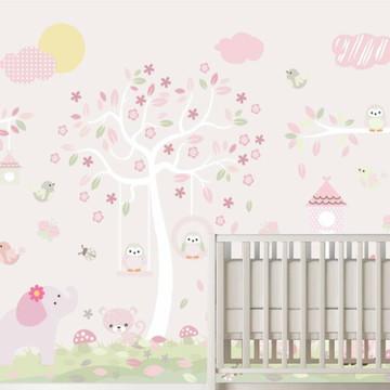 Adesivo Decoração Quarto Bebê Menina Zoo Bichinhos M73