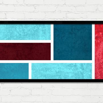 Quadro Horizontal Abstrato Geométrico Azul Vermelho Vinho A