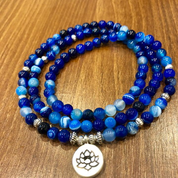 Japamala De Ágata Azul Netuno