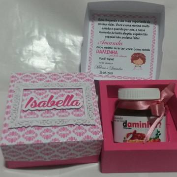Caixa Convite pajem ou dama para nutella -arquivo de corte