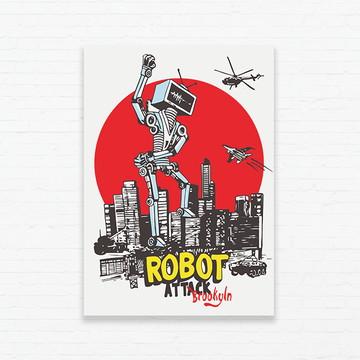 Quadrinho 19x27 Robot Attack Brooklyn
