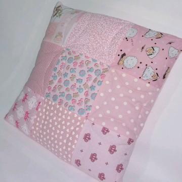 Capa para almofada patchwork rosa