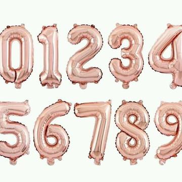 Balão Rose Gold Festas Número Decoração Festas