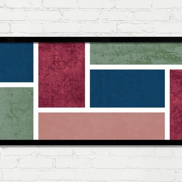Quadro Horizontal Abstrato Geométrico Azul Verde Vinho A