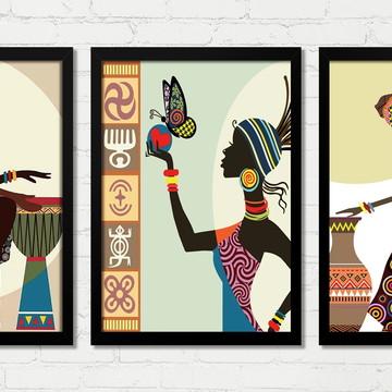 Quadros Africanas Cultura Trio Batuque Moldura e Vidro B
