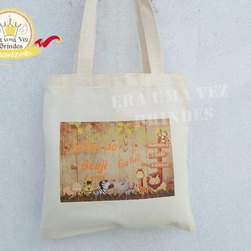 sacolinha Safari Personalizada Ecobag algodão cru