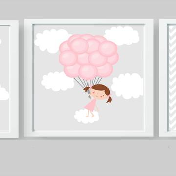 Quadros Bebê Menina Balões Elefante