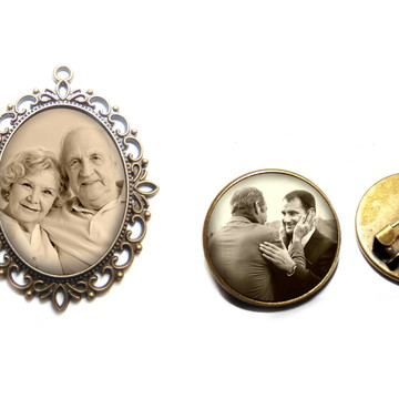 Broche para noiva + Medalha Relicario para buque de noiva