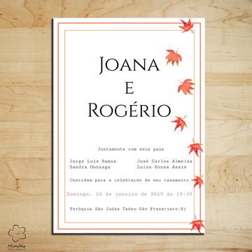Arte Digital Convite de Casamento Folhas de Outono