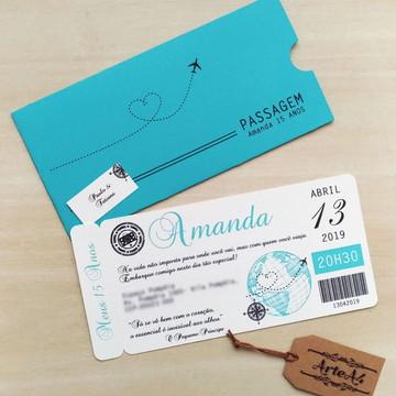 Convite Ticket Passagem Aérea
