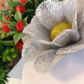 Forminha Flor de Maracujá em Tela Escócia Prateada