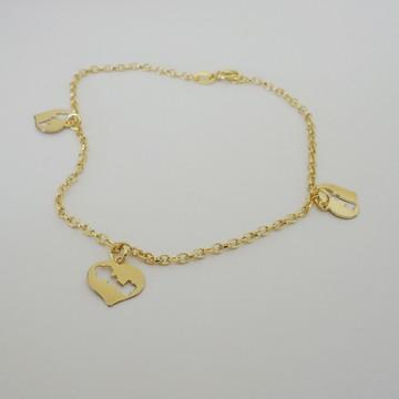Tornozeleira Folheada a Ouro - A Chave do meu Coração