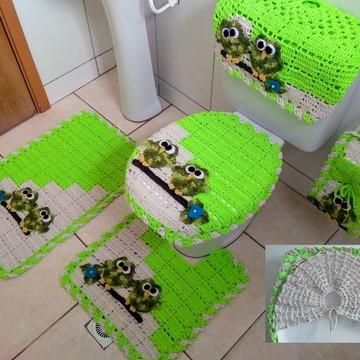 Jogo de banheiro Dual Color Corujinhas 5 peças