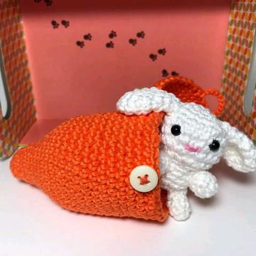 Kit mini coelho com cenoura (amigurumi)