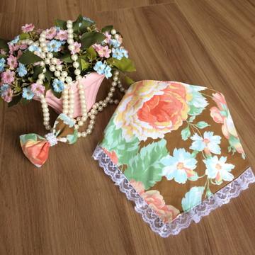 Babador Floral Com Marrom-Acessórios