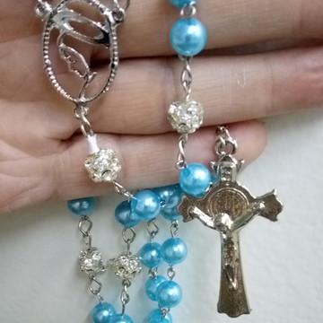 Terço Católico Pérola ABS Azul