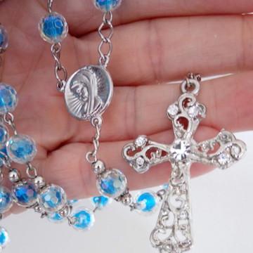 Terço Católico Pérola Irisada Azul