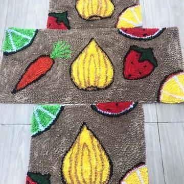 Tapetes para cozinha jogo 3 peças frufru frutas