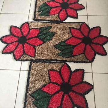 Tapetes para cozinha flores vermelhas jogo 03 peças frufru